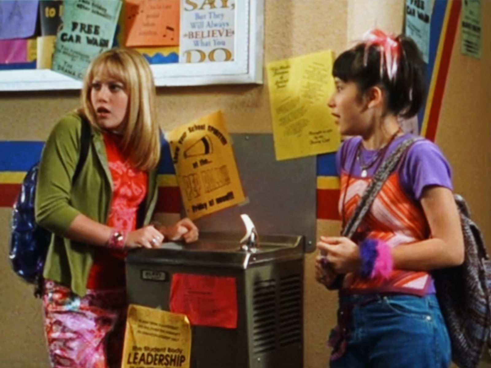 Lizzie and Miranda at the Water Fountain